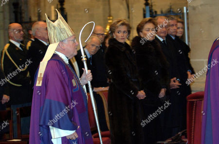 Stock Picture of Cardinal Danneels Godfreed, Princess Astrid, Queen Paola, King Albert II, Prince Philippe and Princess Mathilde