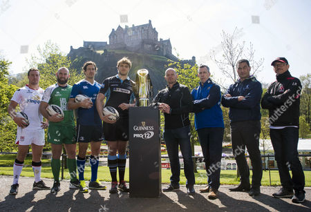 Pictured today (L-R): Ulster's Rob Herring, Connacht's John Muldoon, Leinster''s Mike McCarthy, Glasgow Warriors' Jonny Gray, Glasgow Warriors' head coach Gregor Townsend, Leinster team manager Guy Easterby, Connacht head coach Pat Lam and Ulster Director of Rugby Les Kiss