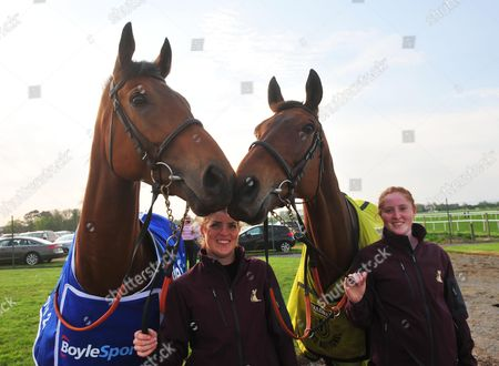 Tipperary Aintree Grand National winner RULE THE WORLD (green sheet) with Shannon Walsh & Irish Grand National winner ROGUE ANGEL (Blue sheet) with Sarah Smith enjoying their day out at Tipperary Racecourse.