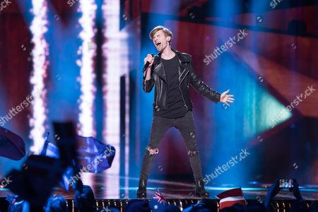 "Justs Sirmais of Latvia performs his song ""Heartbrake"""