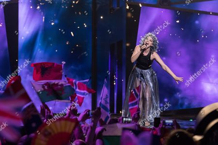 """Rykka of Switzerland performs her song """"The Last of Our Kind"""" at the second semi-final show of the Eurovision Song Contest 2016 in Stockholm, Sweden on May 12, 2016."""
