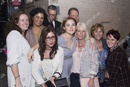 Natasha Barnes (Fanny Brice) with well-wishers at the stage door