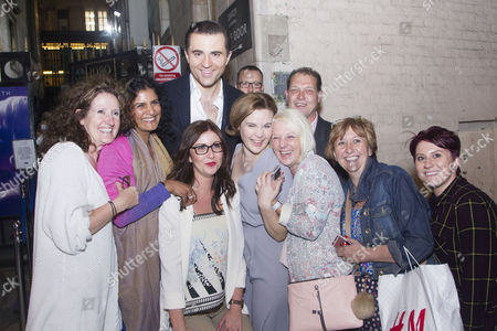 Darius Campbell (Nick) and Natasha Barnes (Fanny Brice) with well-wishers at the stage door
