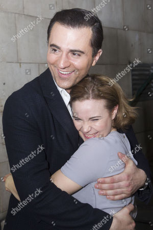 Darius Campbell (Nick) and Natasha Barnes (Fanny Brice) backstage
