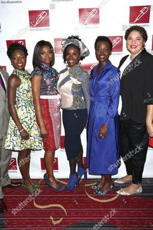 Zainab Jah, Pascale Armand, Akosua Busia, Lupita Nyong'o and Liesl Tommy, director of 'Eclipsed'