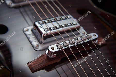 Detail Of The Adjusto-matic Bridge And Tv Jones Oobrian Setzeroo Signature Pickups On A Gretsch G6120 Brian Setzer Hot Rod Electric Guitar
