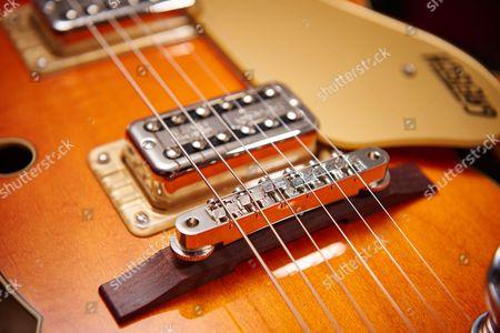 Detail Of The Adjusto-matic Bridge On A Gretsch G6120 Brian Setzer Nashville Electric Guitar