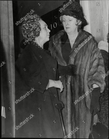 Mme. Henrik Bjornsson (left) Wife Of The Icelandic Ambassador And Mme. Andre J. Clasen Leaving No.10 Downing Street After Tea With Mrs Mary Wilson Wife Of Prime Minister Harold Wilson. Box 628 306101549 A.jpg.
