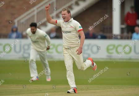 Tom Wells of Leicestershire CCC celebrates the wicket of Milinda Siriwardana of Sri Lanka during the Leicestershire CCC vs Sri Lanka, Tourist Match, at the Fischer County Ground, Leicester, 10th of May 2016