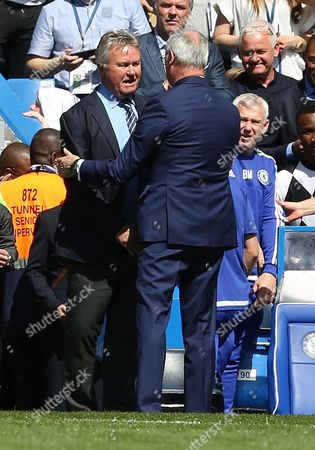 Chelsea Manager Guus Hiddink with Leicester City manager Claudio Ranieri