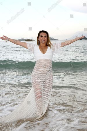 Editorial image of Katia Aveiro performing at 3.14 beach restaurant, 69th Cannes Film Festival, France - 14 May 2016