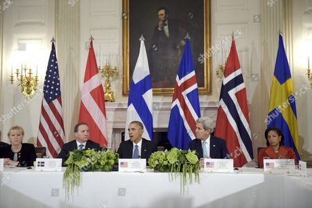U.S. President Barack Obama (C) speaks at the working session of the US-Nordic Leaders Summit at the White House on Friday, 13th May, 2016 in Washington, DC, USA. Behind the table with Obama are (L to R) Sweden's Foreign Minister Margot Wallstrom, Sweden's PM Stefan Löfven, Obama, U.S. Secretary of State John Kerry and U.S. National Security Advisor Susan Rice