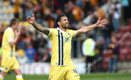 Carlos Edwards of Millwall celebrates at the end of the Sky Bet League One, play-off semi final, first leg match between Bradford City and Millwall played at the The Coral Windows Stadium, Bradford,  on Sunday the 15th of May 2016