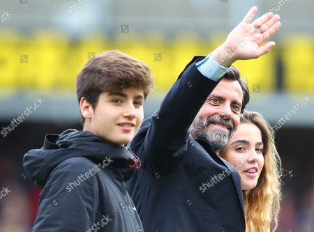 Quique Flores manager of Watford acknowledges the fans   during the Barclays Premier League match between Watford and Sunderland  played at Vicarage Road  , Watford on 15th May 2016