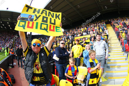 Watford fans saying thank you to leaving club manager  Quique Flores   during the Barclays Premier League match between Watford and Sunderland  played at Vicarage Road  , Watford on 15th May 2016