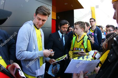 Quique Flores  signs autographs after his last game as a Watford  manager   after  the Barclays Premier League match between Watford and Sunderland  played at Vicarage Road  , Watford on 15th May 2016