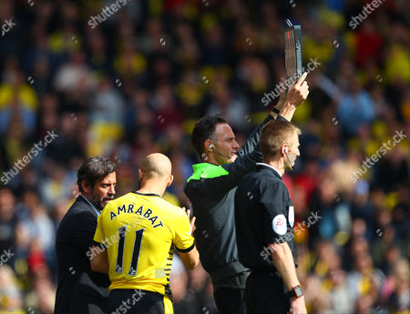 Quique Flores manager of Watford instructs Nordin Amrabat of Watford   during the Barclays Premier League match between Watford and Sunderland  played at Vicarage Road  , Watford on 15th May 2016