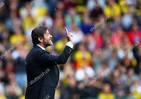Quique Flores manager of Watford   during the Barclays Premier League match between Watford and Sunderland  played at Vicarage Road  , Watford on 15th May 2016