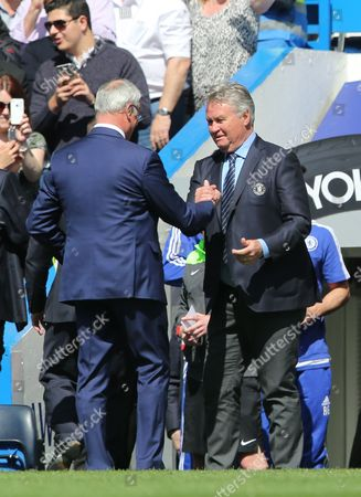 Leicester City's Manager Claudio Ranieri  and Chelsea manager Guus Hiddink during the Barclays Premier League match between Chelsea and Leicester City played at Stamford Bridge, London on 15th May 2016