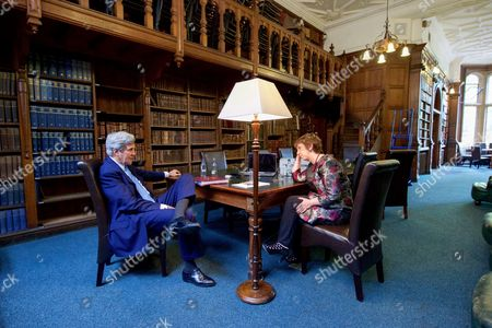 U.S Secretary of State John Kerry speaks with Baroness Catherine Ashton, the former European Union High Representative for Foreign Affairs, in the Goodman Library at the Oxford Union
