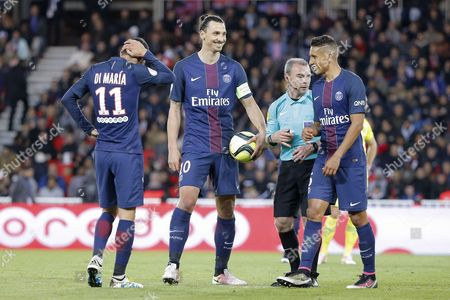Stock Picture of Zlatan Ibrahimovic (psg), Marquinhos Marcos Aoas Correa, Angel Di Maria