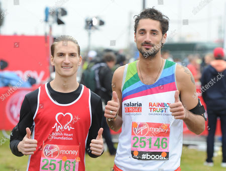 London Marathon 2015. Pictured: Oliver Proudlock And Hugo Taylor From Made In Chelsea Before The Marathon The Virgin London Marathon Celebrates Its 35th Anniversary This Year As Runners Set Off From Greenwich To The Mall.