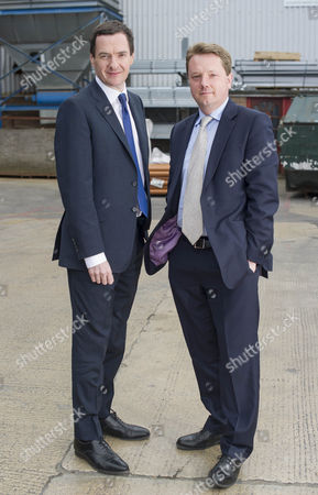 The Chancellor George Osborne Visits George Bence And Sons A Construction Supply Firm In Cheltenham Gloucester. With Lobby Correspondent James Chapman.