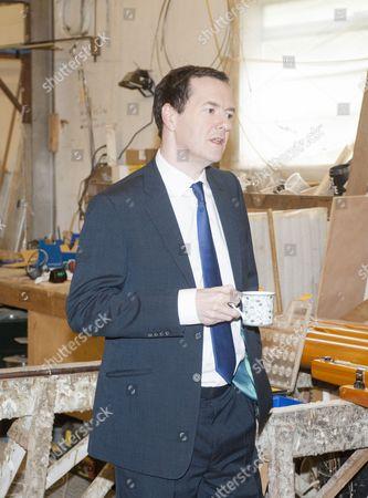George Osborne Visiting The Cornish Crabbers Boat Building Company Near Wadebridge With Local North Cornwall Tory Candidate Scott Mann. 27.4.15 Reporter James Chapman.