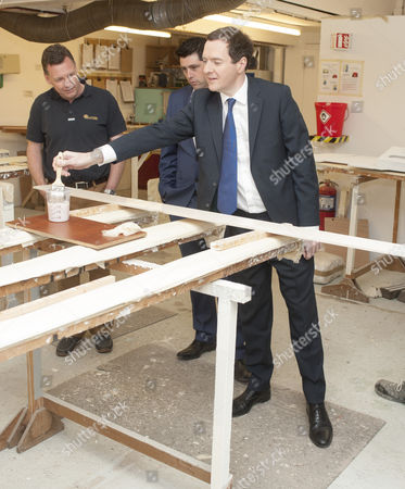 Editorial picture of George Osborne Visiting The Cornish Crabbers Boat Building Company Near Wadebridge With Local North Cornwall Tory Candidate Scott Mann. Picture David Parker 27.4.15 Reporter James Chapman.