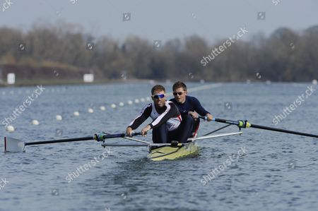 Will Satch/pete Reed. Gb Elite Rowers Train On The Water At The Official Training Facility At Caversham Reading