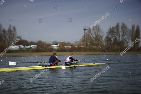 Pete Reed/will Satch. Gb Elite Rowers Train On The Water At The Official Training Facility At Caversham Reading