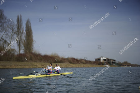Matt Langridge/james Foad. Gb Elite Rowers Train On The Water At The Official Training Facility At Caversham Reading Pic Shows.