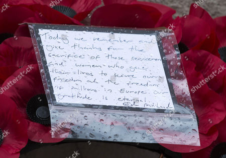 Wreath Note Left By Ed Milliband At The Cenotaph Today In Whitehall To Mark The 70th Anniversary Of Remembrance Of Ve Day.