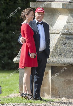 Marriage Of Spice Girl Gerri Halliwell To Redbull Formula One Boss Christian Horner At St Mary's Church In Woburn In Bedfordshire.guests Included Nicki Lauder.