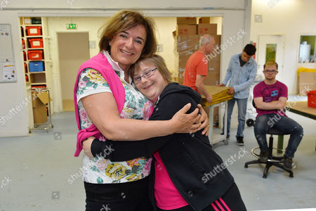 Rosa Monckton (l) With Pauline Rchilly In The L'arche Cardboard Box Factory Trolly-breuil. Rosa Monckton Visited L'arche (the Ark) Disabled Care Community In Trosly-breuil Northern France And Around The World. Vanier Is To Be Awarded The Templeton Prize For His Life's Work.