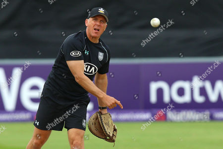 Alec Stewart of Surrey throws a ball ahead of Essex Eagles vs Surrey, Nat West T20 Blast Cricket at the Essex County Ground on 20th May 2016
