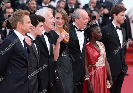 Stock Photo of Jeremie Renier, Louka Minnella, Jean-Pierre Dardenne, Adele Haenel, Luc Dardenne, Nadege Ouedraogo and Olivier Bonnaud
