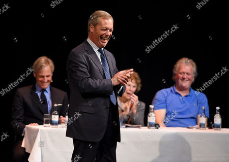 Nigel Farage, Tim Martin (owner of Wetherspoons), Richard Drax MP and Kate Hoey MP