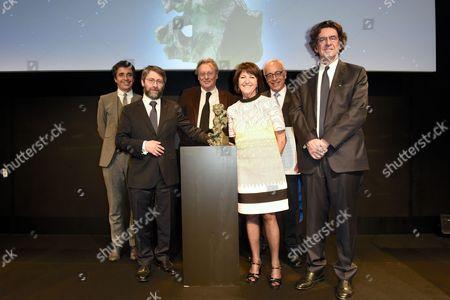 Stock Photo of Haim Korsia, Gerard Garouste, Martine Dassault, Yossi Gal and Luc Ferry