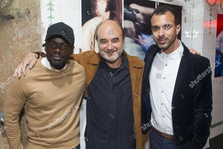 Stock Photo of Daniel Kaluuya (Christopher), David Haig (Robert) and Matthew Xia (Director)