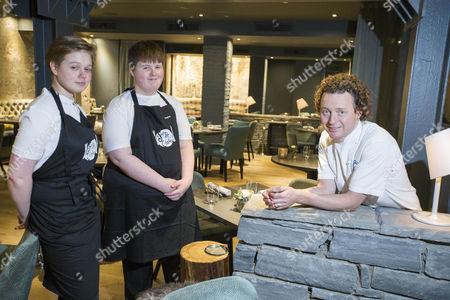 Celebrity chef Tom Kitchin with youngsters Stephen and Milan from Citadel