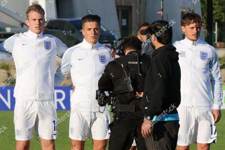 All eyes were on England's Jack Grealish, who proudly stands alongside No18, Robert Holding during England Under-20 vs Guinea Under-20, 2016 Toulon Tournament Football at Stade de Lattre on 23rd May 2016