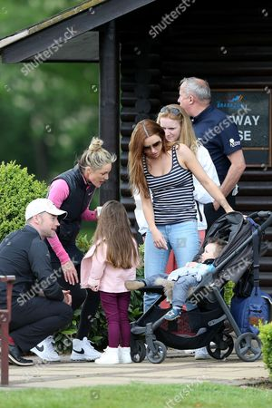 Una Healy looks on as Ronan Keating and Storm Keating chat with her children Aoife Belle and Tadhg John (unseen) during the The ISPS HANDA Mike Tindall Celebrity Golf Classic 2016 played at The Belfry Golf Course, Sutton Coldfield, on May 20th 2016
