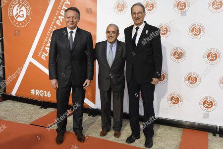 Thierry Braillard (minister of sport) Jean Gachassin (FFT president) and Denis Masseglia (CNOSF president)