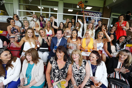 Channel 4 presenter Nick Luck opening the show with 50 ladies from Bury Haydock