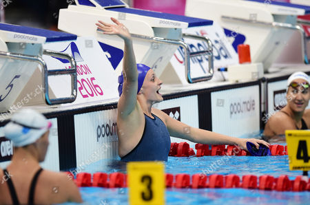 Francesca Halsall of Great Britain celebrates after victory in the Women's 50m Backstroke Final.