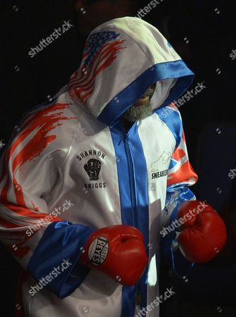 Shannon Briggs (White Trunks) makes his way to the ring before fighting Emilio Ezequiel Zarate (Green / Blue Trunks) during the Heavyweight fight at the O2 Arena, London on May 21st, 2016