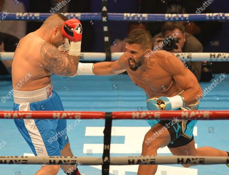 Joe Fournier (Light Blue Trunks) against Bela Juhasz (Blue Trunks) during the Light Heavyweight fight at the O2 Arena, London on May 21st, 2016