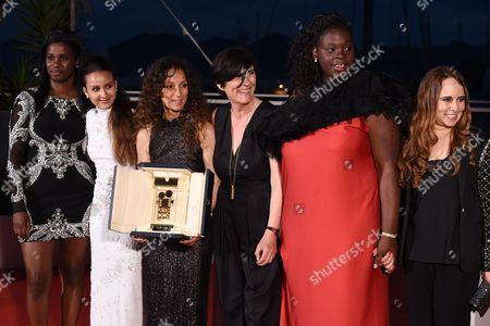Houda Benyamina with the Camera d'Or, Jisca Kalvanda, Oulaya Amamra and Deborah Lukumuena