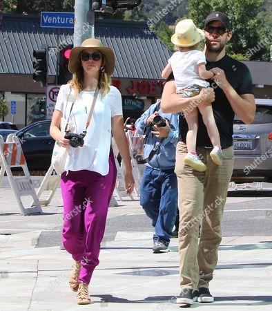 Stock Picture of Emily Blunt and John Krasinski with Hazel Krasinski